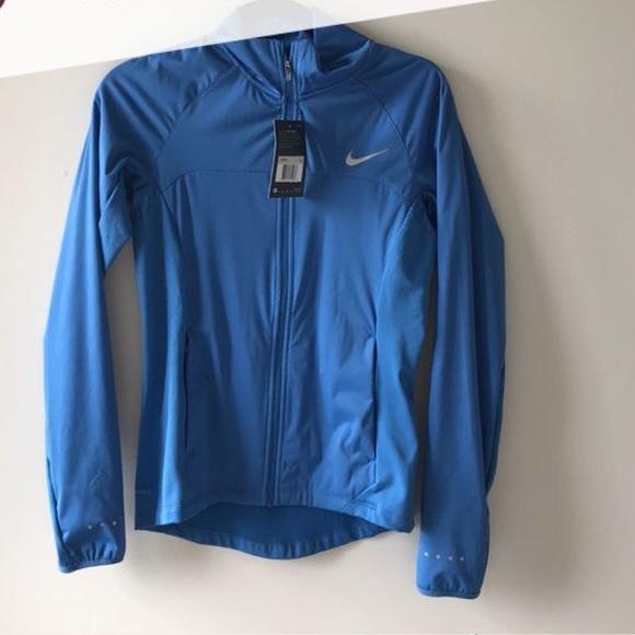 blue shield Nike shield blue running jacket running shield